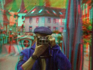 Selbstportrait in Eisenerz fotografiert mit Kodak Retina Stereovorsatz