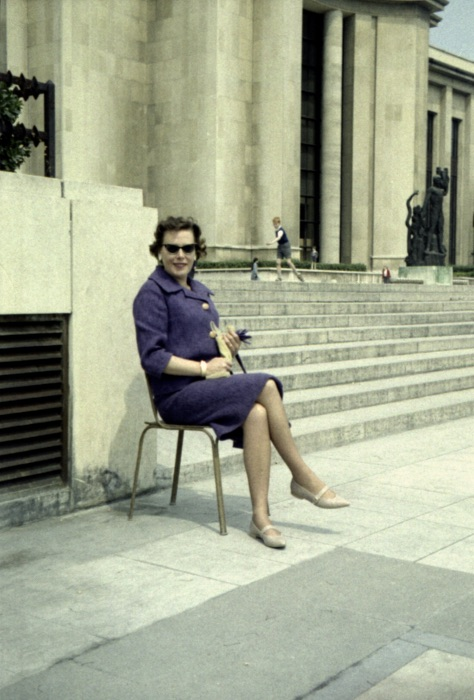 My mother 1967 in Paris. Agfacolor negative film, scanned 50 years later