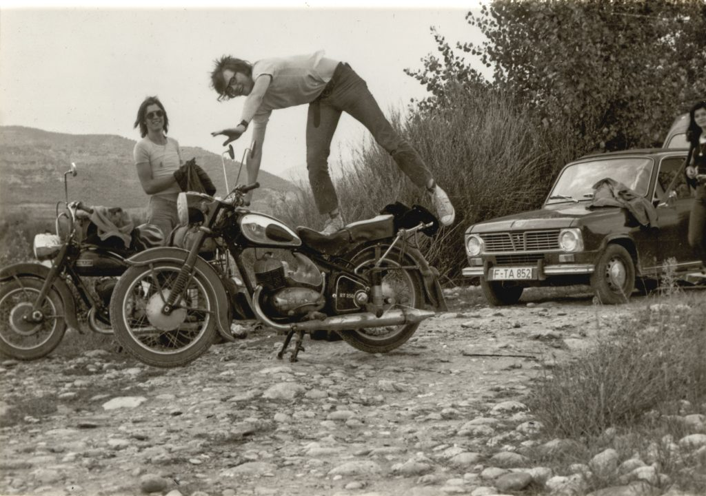 From a journey without a camera - DKW RT 250/2 (right) and Adler M 250 in Alfarras, Catalonia, 1972