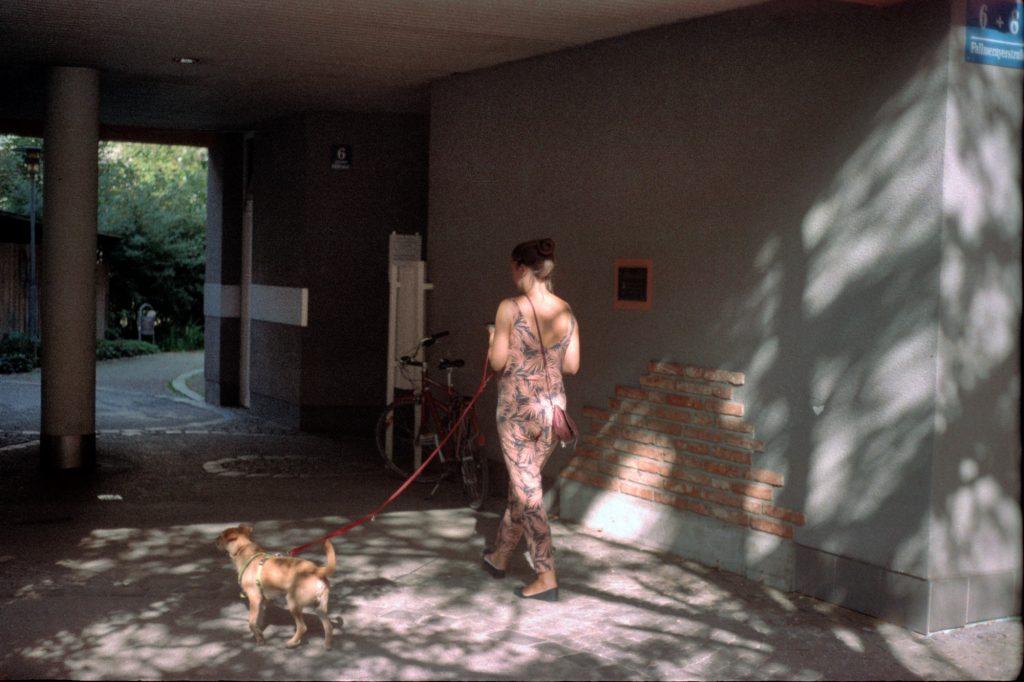 Frau mit Hund, Braun Super Paxette II BL mit Zeiss Tessar 1:2.8/50mm